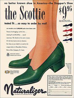 Naturalizer Scottie shoe ad, 1953.