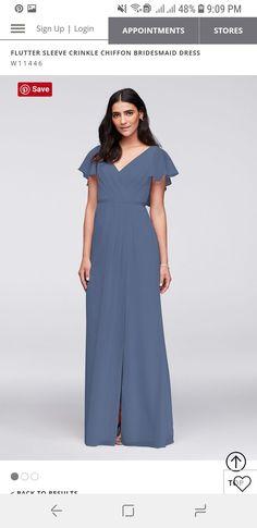 5ae5e9e7ec1  129.95 - STEEL BLUE - Flutter Sleeve Crinkle Chiffon Bridesmaid Dress  Steel Blue Bridesmaid Dresses