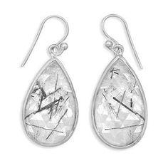 Tear Shape Rutilated Quartz French Wire Earrings