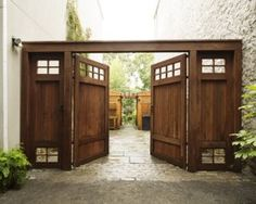 Kim Hoyt Architect Boerum Hill Brooklyn Project with Dark Stained Wood Driveway Gate, Gardenista