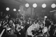 Jazz club seating, atmosphere. Inside the Tin Angel, late 1950s. Jazz Club.