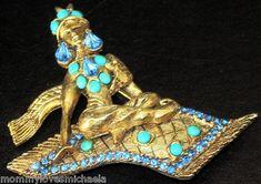 Hattie Carnegie Blue Rhinestone Genie on Flying Carpet Book Piece Pin   eBay