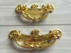 "2.5"" 3.75"" Gold Drop Bail Drawer Pulls Handles Dresser Pull Cabinet Door Knob Furniture Handle Pull Knob Ornate Decorative 2 1/2"" 64 96 mm from LynnsHardware on Etsy Studio"