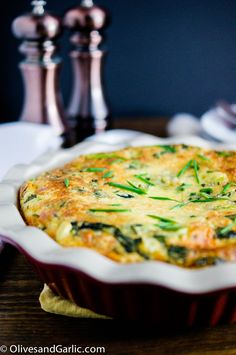 Crustless Cheesy Potato & Spinach Quiche