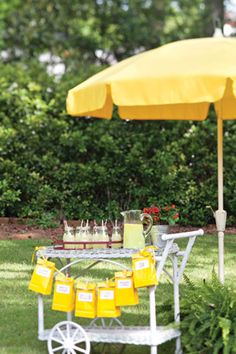 Backyard Carnival - Welcome guests with a cart of refreshing lemonade. Tie baker's twine around glass bottles of lemonade, and finish with striped straws. School Carnival, Fall Carnival, Carnival Ideas, Celebrate Magazine, Fresco, Lemon Party, Southern Ladies, Mellow Yellow, Fruit Recipes