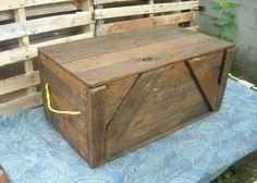 Primitive Wood Box, Storage Chest, Trunk
