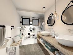 Une salle de bain scandinave et vintage, réveillée par de la tomette graphique et du vert menthe !