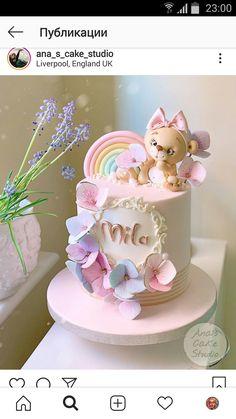 Birthday Cakes Girls Kids, Baby Girl Birthday Cake, Minnie Mouse Birthday Cakes, Pretty Cakes, Cute Cakes, Watermelon Cake Recipe, Little Girl Cakes, Fondant Cake Designs, Girly Cakes