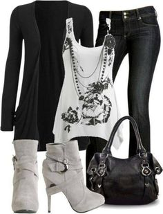 I really need a stylist to put together outfits like this for me. black and white casual outfit Mode Outfits, Casual Outfits, Fashion Outfits, Fashion Trends, Fashion Ideas, Black Outfits, Grey Outfit, Woman Outfits, Outfits 2014