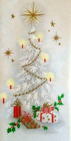Vintage Christmas Card. White Christmas Tree. Christmas Candles.