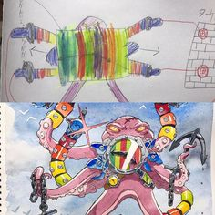 A gallery of the work of French animator Thomas Romain who converts his kids' drawings into awesome anime characters. Badass Drawings, Amazing Drawings, Art Drawings, Drawing For Kids, Art For Kids, Drawing Ideas, Thomas Romain, French Anime, Character Art