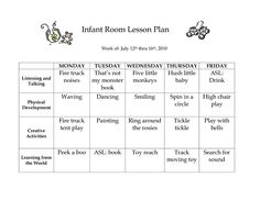 lesson plan formats on pinterest infant curriculum lesson plans and