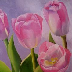 Nel's Everyday Painting: Pink Tulips - SOLD