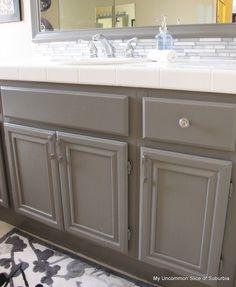 painted builder grade oak cabinets