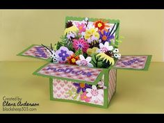 Funky Florals Mother's Day Pop-Up Box Card with Tim Holtz & Lawn Fawn Dies - YouTube