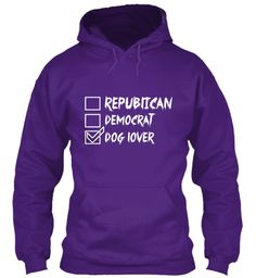 Republican Democrat Dog Lover Purple T-Shirt Front