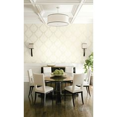 Seabrook Wallpaper ON42009 - Opulent - Damask design wallcovering in a dining room photo