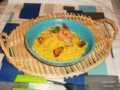 Cinco sentidos na cozinha: Esparguete com camarão em molho cremoso de cogumel...