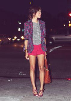 Floral blazer, plain grey t-shirt, and pink shorts.