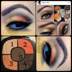 """Wet n Wild cosmetics fergie's center stage collection in """"Desert Festival""""  1 on inner lid, 3 on center of lid, 2 on outer lid, 4 blending to 5 on crease Mac fascinating in bottom waterline, black liner below waterline blended with 5 to 4   I created this look inspired by vegas_nay"""