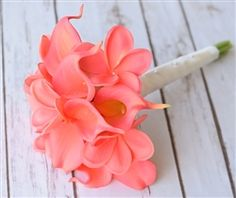 Bouquet made of Natural Touch Natural Touch Silk Coral and Off White Calla Lilies accented with Crystals. Perfect for Bride or Bridesmaids.