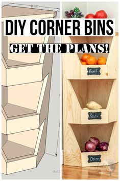 Step by step plans, tutorial and video showing you how to build a DIY corner vegetable storage bin perfect for root vegetables or fruits or really any organization! #anikasdiylife #woodworkingprojects #woodworkingplans #diyorganization #scrapwoodprojects