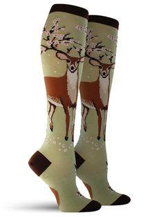 Antler Blossoms Fun Animal Novelty Knee High Socks for Women