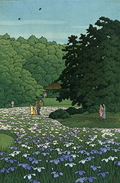 "Japanese Art Print ""Iris Field at Meiji Shrine"" by Kawase Hasui. Shin Hanga and Art Reproductions http://www.amazon.com/dp/B01DHLFWJC/ref=cm_sw_r_pi_dp_pc5dxb162RVC5"