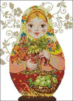point de croix femme russe saison automne - cross stitch russian girl season autumn fall
