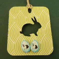 Rabbit Easter Egg Shaped Earrings.  Resin or by buttonsbyrobin