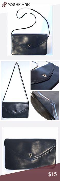 80s Vintage Dark Navy Envelope Shoulder Bag 80s Vintage Dark Navy Envelope Shoulder Bag//It looks black in photo, but it's a super dark Navy with Gold Embellishment 😁 In great condition Vintage Bags Shoulder Bags