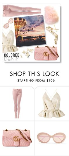 """Spring Trend: Colored Denim"" by fattouvy ❤ liked on Polyvore featuring Tommy Hilfiger, Delpozo, Gucci, Sunday Somewhere, Dsquared2, coloredjeans, pastelpink, rides and themeparks"