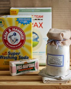 Homemade Laundry Detergent : 1 bar Fels-Naptha bar soap, 1 cup Borax, 1 cup Washing Soda, 1/4 cup Baking Soda.