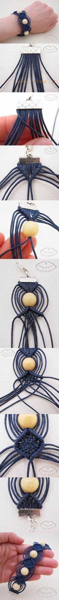 DIY Unique Macrame Beaded Bracelet 2 ✿Teresa Restegui http://www.pinterest.com/teretegui/✿