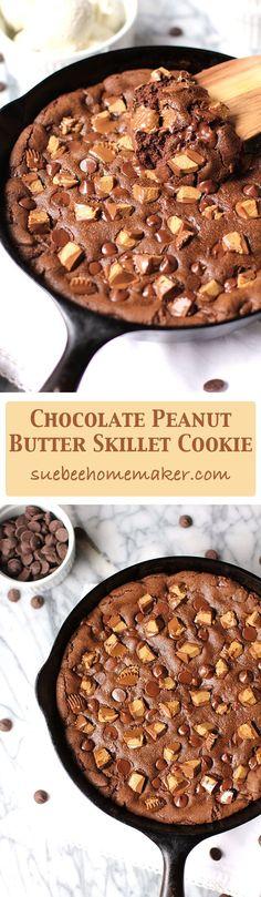 Dark Chocolate Peanut Butter Skillet Cookie is a decadent dessert cookie, with tons of dark chocolate chips, peanut butter, and topped with Reece