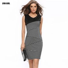 V-Neck Striped Dress