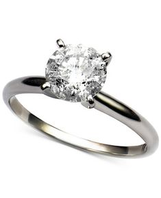 Diamond Round Solitaire Engagement Ring (1-1/2 ct. t.w.) in 14k White Gold - Rings - Jewelry & Watches - Macy's