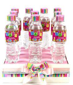 Etiquetas para botellas de agua en color rosa. Recuerdos para Baby Shower