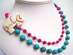 Elephant Necklace, Fuchsia & Turquoise Two Strand Beaded Necklace, White Elephant Necklace, Asymmetric Elephant Necklace, Good Luck Jewelry, $30.00