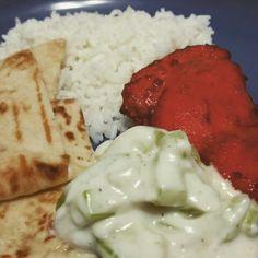 Tandoori Chicken, Cucumber Raita and Garlic Naan