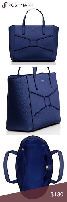 """Kate spade bridge place small francisca new KATE SPADE BRIDGE PLACE SMALL FRANCISCA HANDBAG PURSE (FRENCH NAVY) NWT 10""""h x 12""""w x 5""""d drop length: 4.75"""" MATERIAL pebbled leather with suede trim 4 feets at bottom style # wkru3766 open top tote interior zipper and double slide pockets kate spade new york gold printed signature kate spade Bags Totes"""