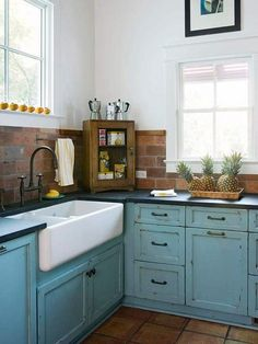 rustic classic pure blue country kitchen design use blue wooden