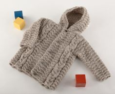 Free Knitting Pattern - Baby Sweaters: Cozy Cabled Hooded Cardigan