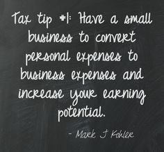 Tax tip Convert personal expenses to business expenses by having a small business. Business Tax Deductions, Bookkeeping Business, Business Entrepreneur, Business Marketing, Internet Marketing, Media Marketing, Digital Marketing, Small Business Tax, Business Tips