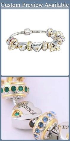 Forever in My Heart Birthstone and Name Charm Bracelet with up to 6 names - a sweet Christmas gift for my Mother in law!