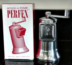 PERFEX PEPPER MILL, HEAVY ALUMINUM, CARBON STEEL GRINDERS, FRANCE, NIB!  #PERFEX