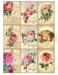 FADED ROSES Digital Collage Sheet Instant Download от GalleryCat