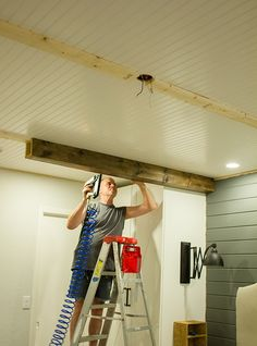 Master Makeover: DIY Wood Beams Alright, let's try this beam reveal thing again! Shortly after last week's post, my dad came by and we were able to finish the job. Here's how it all started… Most of you re… Fake Wood Beams, Faux Ceiling Beams, Wood Ceilings, Basement Ceilings, Diy Holz, Farmhouse Kitchen Decor, Home Projects, Home Remodeling, Basement Renovations