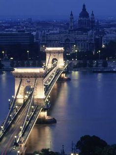 size: Photographic Print: Chain Bridge at Night, Budapest, Hungary Poster by Dan Gair : Artists Oh The Places You'll Go, Places To Travel, Travel Destinations, Places To Visit, Budapest Hungary, What A Wonderful World, Model Trains, Albania, Wonders Of The World