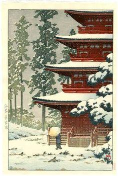 HASUI Japanese Woodblock Print SNOWY RED TEMPLE 1936 | eBay